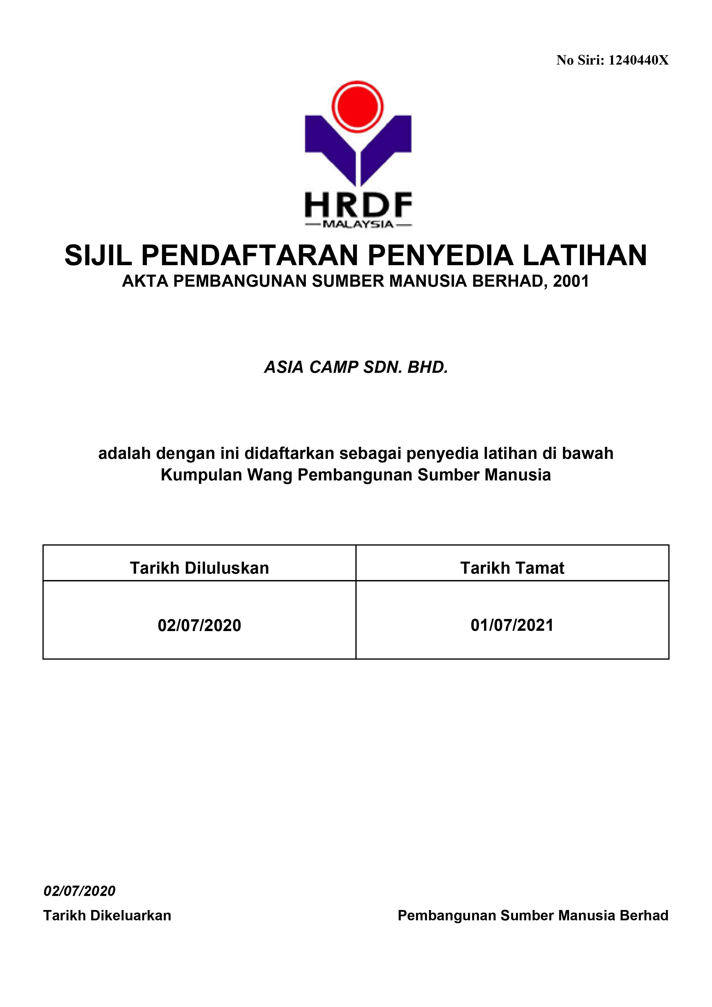 Sijil Pendaftaran Penyedia Latihan PSMB HRDF Claimable